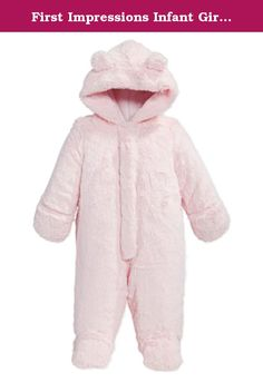 First Impressions Infant Girls Plush Pink Snowsuit Footed Pram Snow Suit. This cozy plush pink baby snowsuit has a zippered front, built in slipper feet, attached mittens, attached hood, and a full lining. It is so cozy and warm, you will want baby to wear it all of the time! Size: Infant girls 0-3 months, 3-6 months, 6-9 months, or 12 months 0-3 Months: Up to 12 pounds, up to 23.5 inches 3-6 Months: 12-17 pounds, 23.5-26.5 inches 6-9 Months: 17-22 pounds, 26.5-28 inches 12 Months: 22-25...