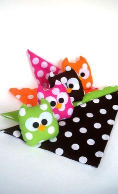4 polka dots colorful mini owls by LilyRoseCraft on Etsy, $32.50