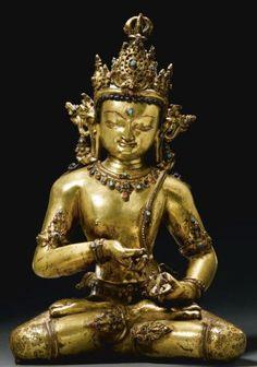 12th-13th century, Tibet, supreme buddha Vajrasattva, gilt copper inlaid with stones, private collection