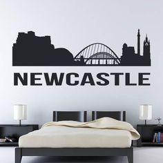 Newcastle upon Tyne UK Cityscape Skyline Wall Art Sticker Vinyl Room, Vinyl Art, Newcastle, City Wall Stickers, Skyline Tattoo, White Vinyl, Interior Walls, Living Room Bedroom, Wall Art