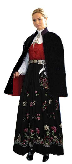 """Grafferbunad"" with red damask waist and black embroidered skirt from Lom, Gudbrandsdalen, Oppland, Norway (I don't think the belt is originally a part of this bunad. I think the damask waist have more color options)"