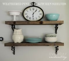 DIY Rough Cut Weathered Pine Kitchen Shelves | Everyday Enchanting