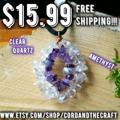 Check out this item in my Etsy shop https://www.etsy.com/listing/398075721/clear-quartz-amethyst-crystal-necklace