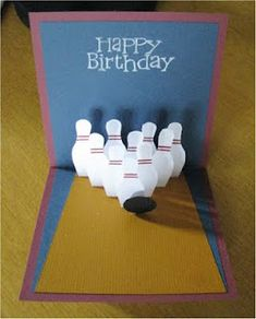 handmade birthday card ... pop up bowling pins stand up in formation on the inside ... luv it!!