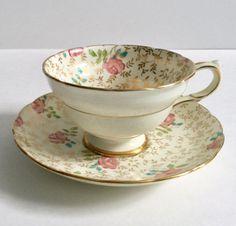 Hand Painted Chintz Copelands Grosvenor Tea Cup & Saucer