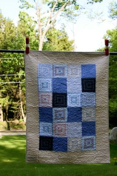 Recycled Men's Shirting Baby Quilt or Wall Hanging by Mamaka Mills Stripes