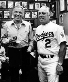 Tommy Lasorda with Frank Sinatra, on Opening Day in 1981. Photo by Rob Brown, from the Herald-Examiner Collection. Photo courtesy Los Angeles Public Library