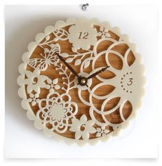 """Kirie 01 Bamboo Clock: """"Kirie"""" is a Japanese word for paper cutting the inspiration for this cute clock."""