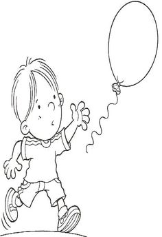 niños con globos para colorear 2