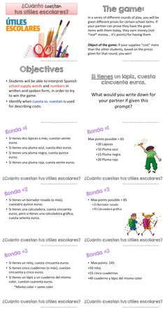 en mi mochila spanish school supplies worksheet spanish resources french school school. Black Bedroom Furniture Sets. Home Design Ideas