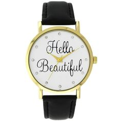 A Classic Time Watch Co.  Women's Black 'Hello Beautiful' Watch (885 RUB) ❤ liked on Polyvore featuring jewelry, watches, black, stackers jewelry, dial watches, enamel watches, enamel jewelry and stackers jewellery
