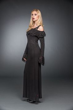 Long Dress With A Ruffled Neckline