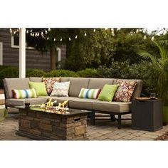 "5-piece sectional outdoor furniture ... 1 corner chair and 4 armless square chairs - great for configuring as couch OR chairs. ""Garden Treasures Palm City"" set from Lowe's."