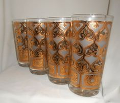 Vintage Highball Glasses 4set  Gold Rimmed Mixed Drink Barware Gifts for Him