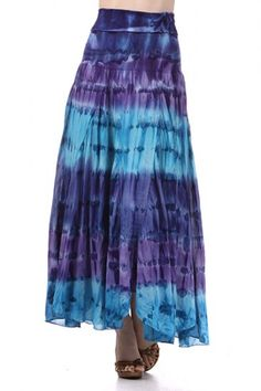 100 percent Polyester 1S/1M/1L Per Pack Blue, Brown, Green, Fuchsia This HIGH QUALITY skirt is VERY CUTE!! Colored very nicely, this sweet long multicolor print high waist skirt is hand washable, and fits true to size.