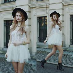 Thewildflowershop Top, Chic Wish Skirt, Heels, Oasap Hat, Hair