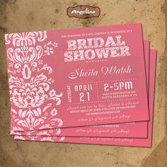 Bridal Shower Invitation DIY card Pink Chalkboard by AngelinaWorks, $12.90