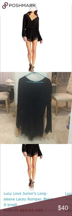 Lucy Love long sleeve Lacey romper Lucy Love never worn beautiful black long sleeve romper w lace accents on sleeves and bottom! I super cute! I took off the tags, but it's never been worn! Lucy Love Dresses Midi