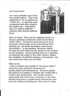 Grant Wood, American Gothic Assignment Rube Goldberg Wild and Wacky Inventions American Farm Scenes No. 4 from Currier and Ives Grid Grant Wood, Art Sub Lessons, Art Education Lessons, Drawing Lessons, Drawing Art, Art Sub Plans, Art Lesson Plans, American Gothic, Middle School Art