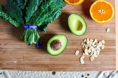 kale salad with orange, avocado, and almonds