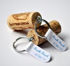 wine cork keychains -- cute wedding favors?