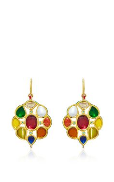 Navratna Hanging Earrings by Sanjay Kasliwal for Preorder on Moda Operandi