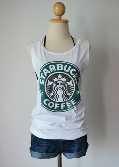 Starbucks Coffee classic vintage logo - women's singlet Tank Top shirt - XS - S - M - L on Etsy, $14.99