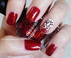 Red glitter with Rudolph design