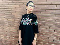 Embroidred butterflies @VIPme ->https://www.vipme.com/black-embroidery-lace-yoke-3-4-sleeve-tent-mini-dress_pV0004484901?utm_source=pinterest&utm_medium=SI&utm_campaign=Veronica_Perez  Usa el código Veronica566 en su web www.vipme.com y consigue un descuento de 5$ en pedidos superiores a 50$!! #vipme #embroidery #embroidered #floral #fashion #blogger #bordado #dress