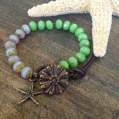 "Starfish Hand Knotted Bracelet, ""Beach Boho"" $32.00"