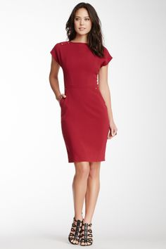 Perfect little red sheath dress for Valentine's Day. Would also be cute with a little belt and with a blazer.