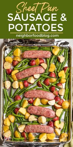 This Italian Sausage sheet pan dinner is perfect for busy weeknights! With minimal prep and few dishes, you'll have this Sausage and Potato Bake on the table in minutes! Shop all the ingredients for this nutritious meal at @KrogerCo. #sponsored Easy One Pot Meals, Easy Chicken Dinner Recipes, Rib Recipes, Meal Recipes, Potato Recipes, Healthy Recipes, Baked Italian Sausage, Sausage And Potato Bake, Sheet Pan