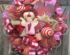 Valentine Wreath Valentine Decor Valentine Door by BaBamWreaths Valentine Day Wreaths, Valentines Day Decorations, Easter Wreaths, Valentine Crafts, Holiday Wreaths, Holiday Crafts, Christmas Decorations, Holiday Decor, Valentine Ideas
