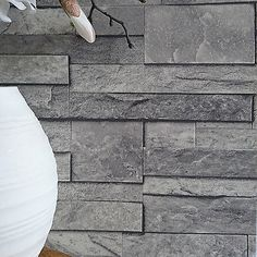 'Split Face Tile' Effect 3D Textured Faux Slate Stone Effect Wallpaper in Grey