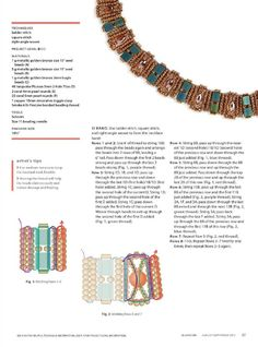 ISSUU - Beadwork Magazine Aug Sept 2015 by BeadworkBrasil Beadwork Designs, Beaded Jewelry Designs, Seed Bead Jewelry, Beading Techniques, Beading Tutorials, Beaded Bracelet Patterns, Beading Patterns, Beaded Ornament Covers, Right Angle Weave