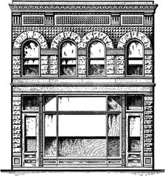 Architectural Town Shop Image - Stone Building - The Graphics Fairy Architecture Drawings, Architecture Details, Architecture Geometric, Stone Store, Victorian Buildings, Pub Decor, Moldings And Trim, Graphics Fairy, Facade Design