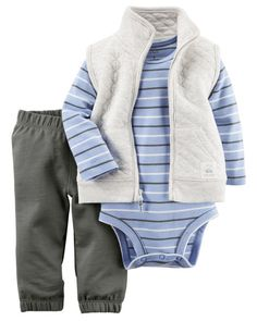 Featuring a quilted cotton vest, this set is complete with cozy terry pants and a striped cotton bodysuit.