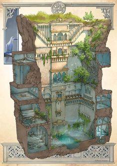 The forgotten temple of Guillaume Tavernier, # forgot - Modern Fantasy House, Fantasy Map, Fantasy Places, Fantasy Kunst, Fantasy World, Fantasy Castle, Minecraft Blueprints, Minecraft Designs, Fantasy City