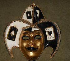 Hand Painted Papier Mache Jester Mask ~ Great Wall Hanging or Wearable Art