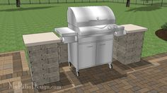 """Gorgeous Grill Station for Grills up to 60"""" Wide.  Easy Stack and Glue Installation.  Download Installation Plans at MyPatioDesign.com"""