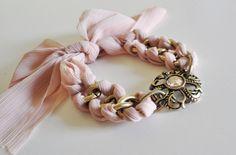 craft, vintage, accessori, soft pink, fashion styles, bracelets, ribbons, chains, winter fashion