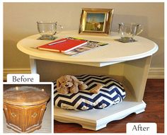 Upcycled Coffee Table Pet Beds | ... Table --- Upcycled Item: Updated Side Table/Pet Bed #Pet #Makeover