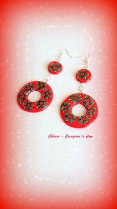 Idea regalo Natale 2015 Orecchini in fimo handmade natalizi rossi