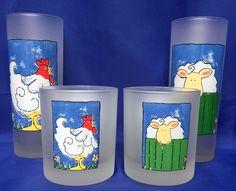 4 Dartington Designs Glasses France Drinking Tumblers Frosted Farm Animals Sheep #Dartington #HighballOldFashioned