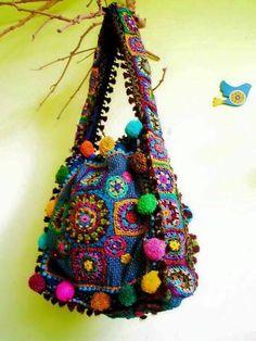 Ideas For Crochet Purse Hippie Granny Squares Love Crochet, Crochet Granny, Knit Crochet, Hippie Bags, Boho Bags, Crochet Handbags, Crochet Purses, Sac Granny Square, Granny Squares