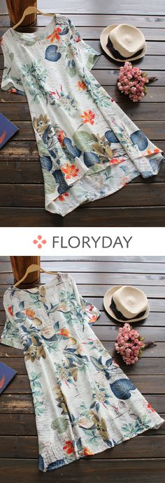 Floral tshirt short sleeve A-line dress, lovely dress, sweet, vacation. Pretty Outfits, Cool Outfits, Casual Outfits, Simple Dresses, Summer Dresses, Affordable Dresses, Fashion Dresses, Floryday Dresses, Wedding Dresses