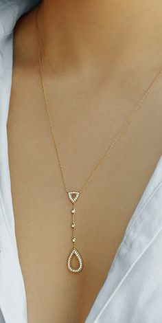 Take the work out of layering and make this delicately luxurious lariat your new everyday favorite. #diamonds #necklaces #danarebecca