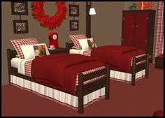 Gingham Coordinates Elegant Curtains, Bed Cushions, Thanks A Bunch, Buy Bed, Bedroom Bed, Sims 2, All The Colors, Gingham, Rustic