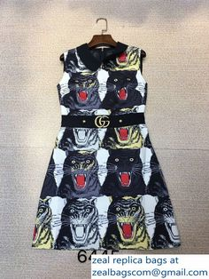 Gucci Patchwork Tiger Face Print Sleeveless A-line Midi Dress 2017
