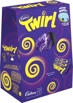 This Cadbury Twirl Easter Egg puts a Twirl into Easter. It includes a Cadbury chocolate egg with 3 scrumptiously swirly Cadbury Twirl bars. Easter Candy, Easter Eggs, Cadbury Chocolate Eggs, Make Your Own Chocolate, Easter Egg Designs, Chocolate Decorations, Pop Tarts, Snack Recipes
